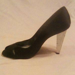 Shoes - Stuart Weitzman Black Satin Diamond Heel Peep Toe